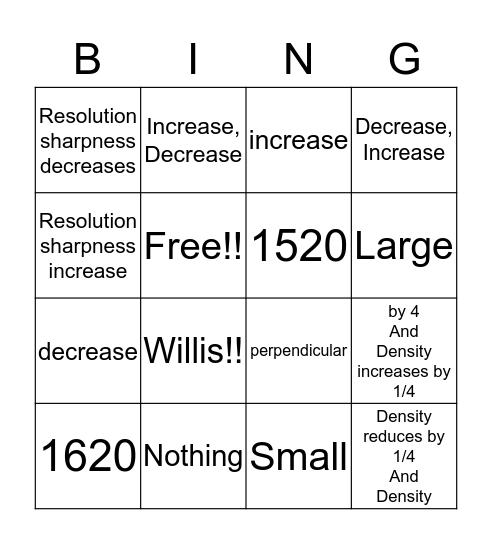 Focal Spot and SID Bingo Card