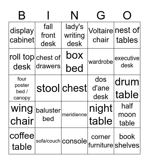furniture  Bingo Card