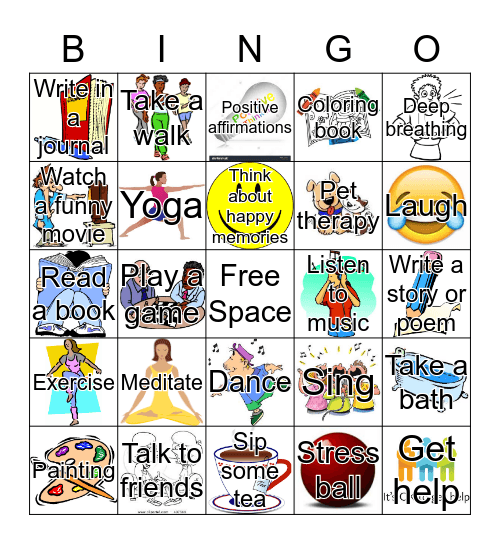 Stress Management Bingo Card