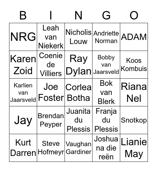 Afrikaanse Sangers Bingo Card