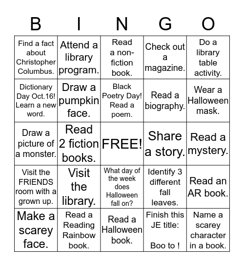 OCTOBER Bingo Card