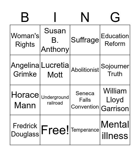 Age of Reform Bingo Card