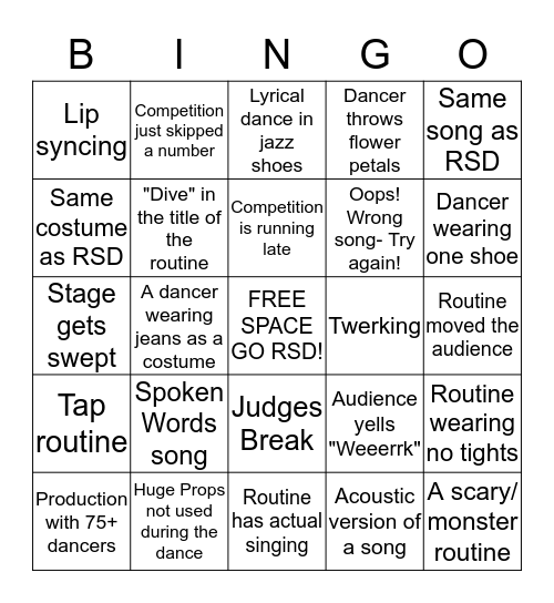 Rising Stars Competition BINGO Card