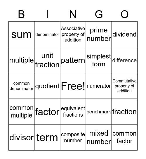 Math Vocab. Bingo Card