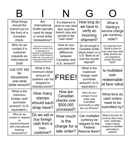 Vault & International Transactions Bingo Card