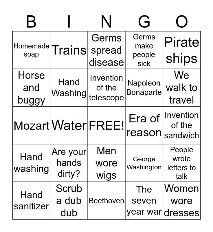 The 1700's Bingo Card
