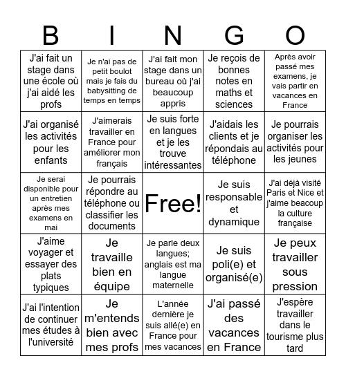 N5 French Job Application Bingo Card