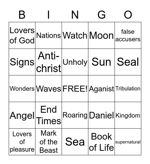The End Times Bingo Card
