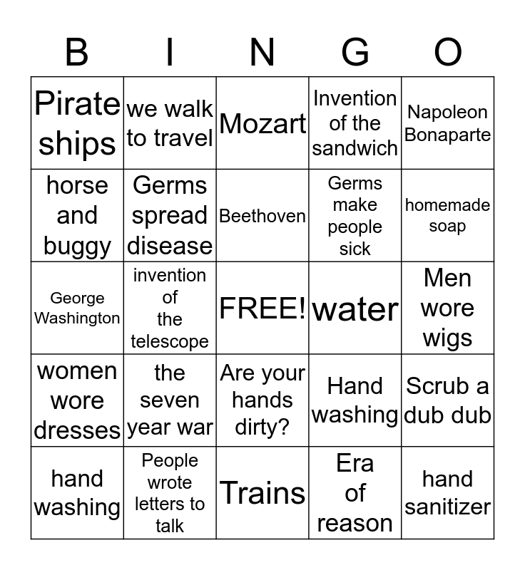 The 1700's Bingo Card