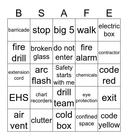 Safety Sign  Bingo Card