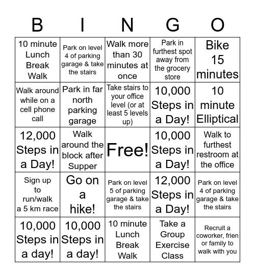 Walking Challenge Bingo Card