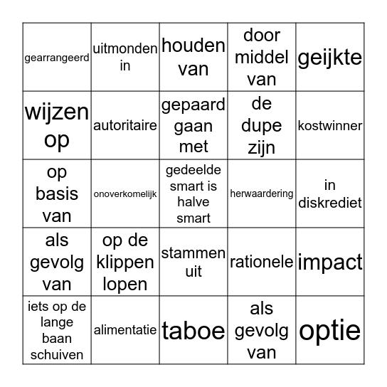 woordenschat NN 2 havo hoofdstuk 4 Bingo Card