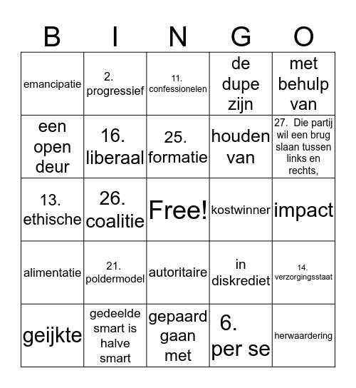 woordenschat h3-1 NN 2 havo Bingo Card