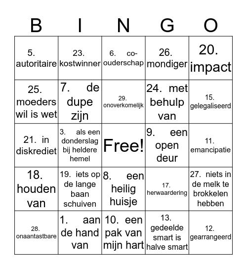 NN h4 woordenschat deel 1 Bingo Card