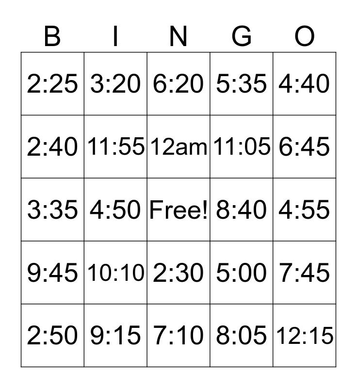 Clock Bingo Card