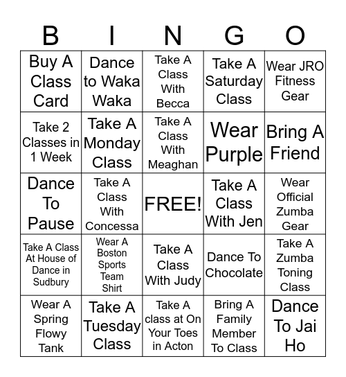 JRO Fitness Beach Bingo Card