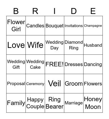 1P Bridal Shower Bingo! Bingo Card