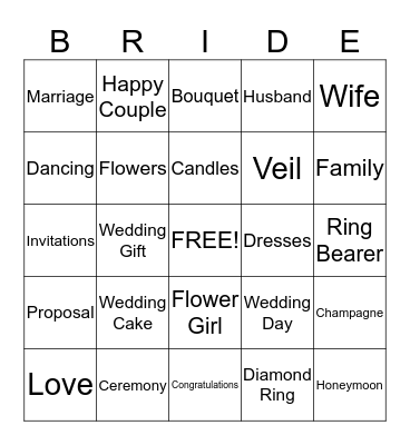 1P Bridal Shower Bingo! Bingo Card