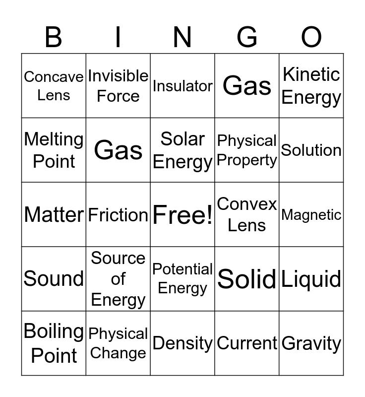 Physical Science Vocabulary Bingo Card