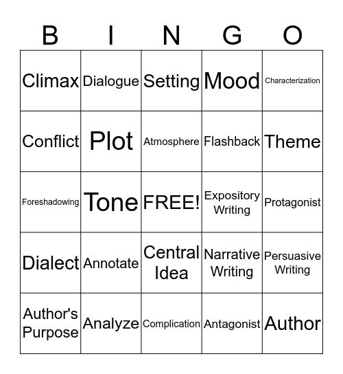 EOG Practice: Literary Terms Bingo Card