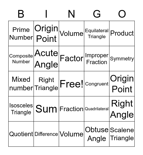Math Vocab Bingo Card