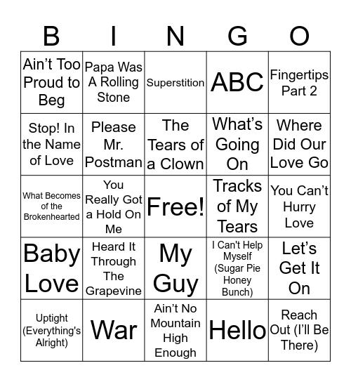Musical Bingo Card
