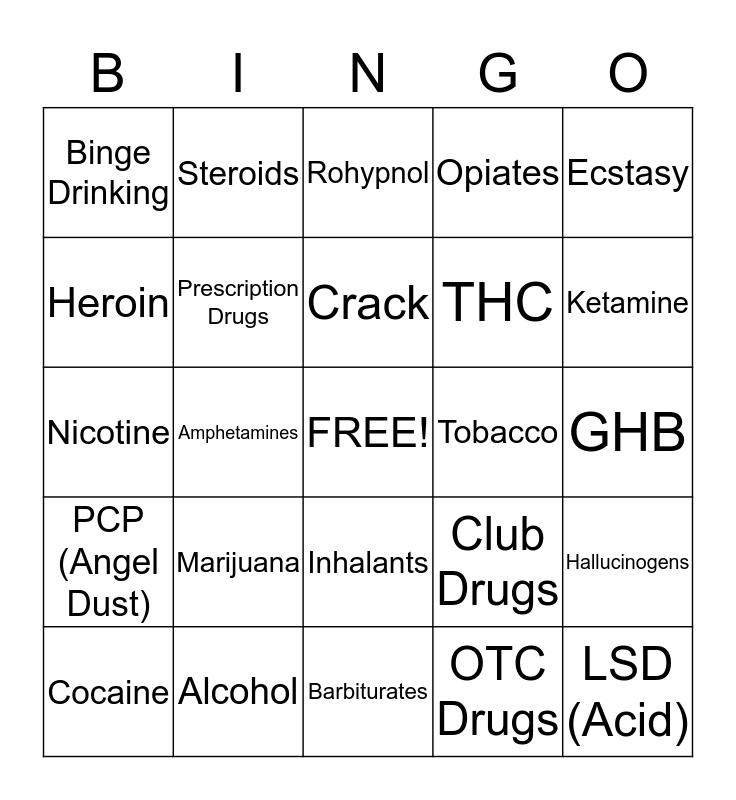 Drug Prevention Bingo Card