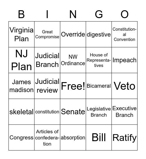 Module 7 SS Vocabulary Bingo Card