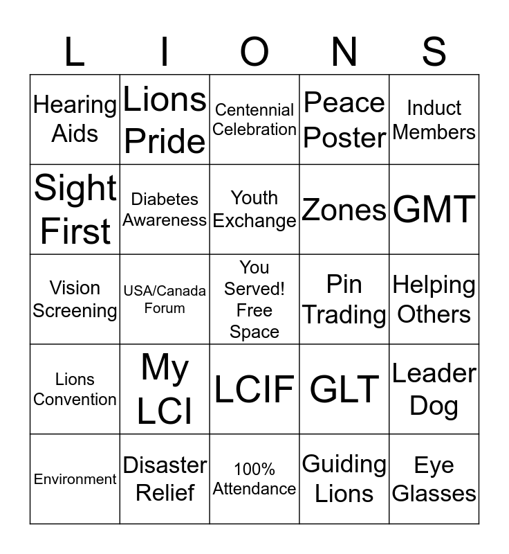 LIONS BINGO! Bingo Card