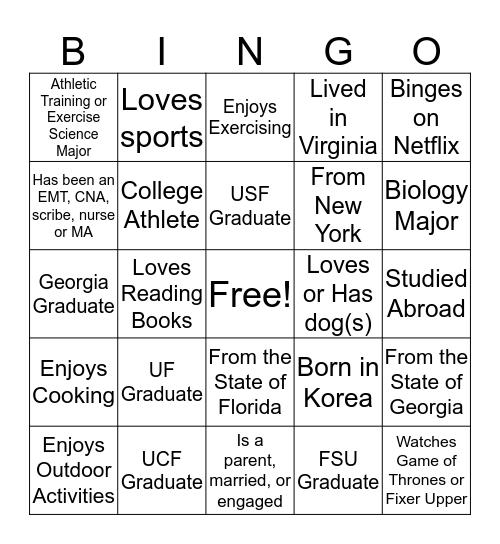 Class of 2019 Bingo Card