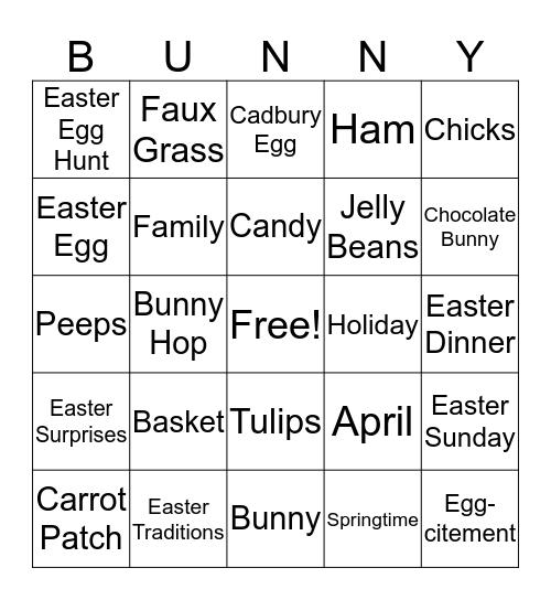 Easter Bunny Bingo Card