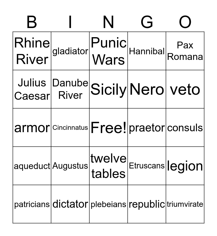 Ancient Rome Bingo Card