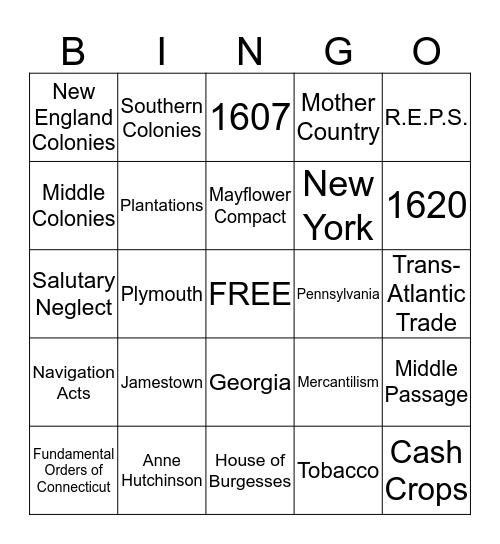 Colonization Bingo Card
