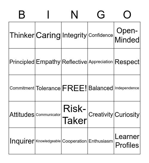 Profiles and Attitudes Bingo Card