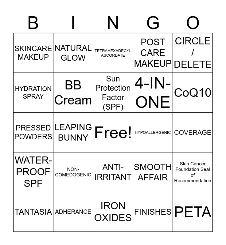 Jane Iredale LBD Bingo Card