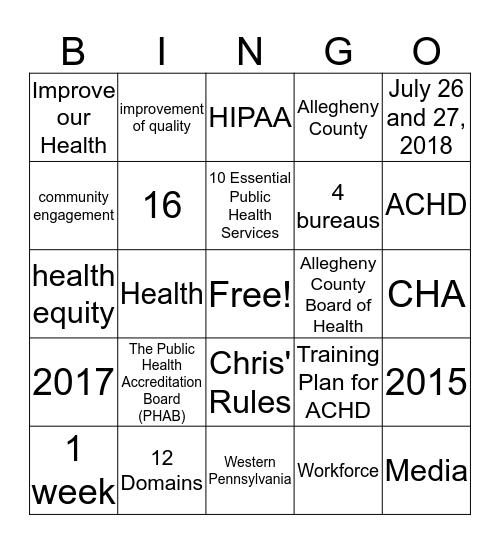 ACHD Accreditation BINGO (7) Bingo Card