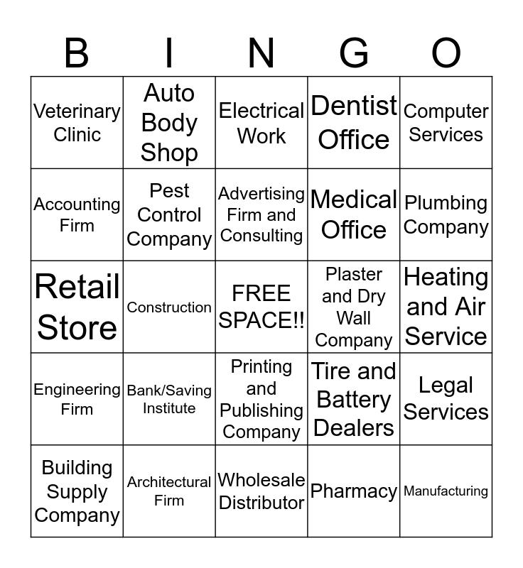 New Account Bingo Card