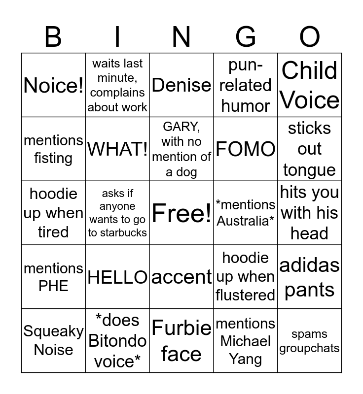 DENNIS Bingo Card