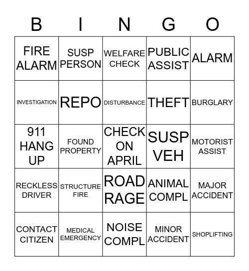 DISPATCH BINGO - NIGHTS Bingo Card