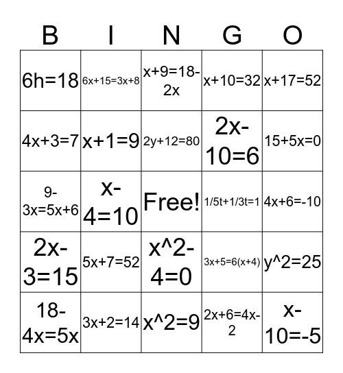 Math Bingo for Middle School Bingo Card