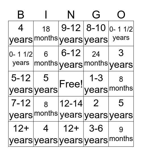 Child Development Bingo Card