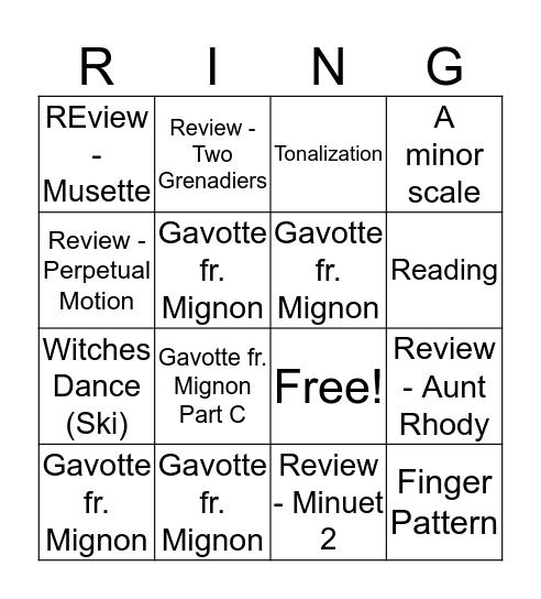 Forte! Bingo Card
