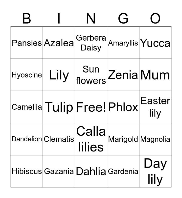 Flowers Bingo Card