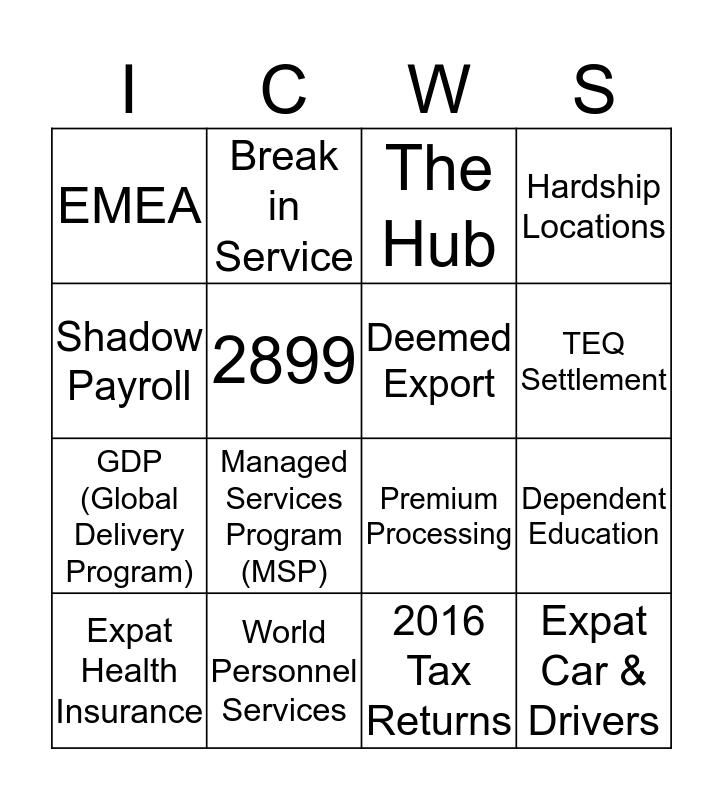 ICWS Bingo! Bingo Card