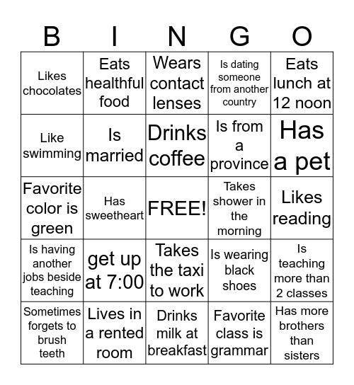 My Activities Bingo Card