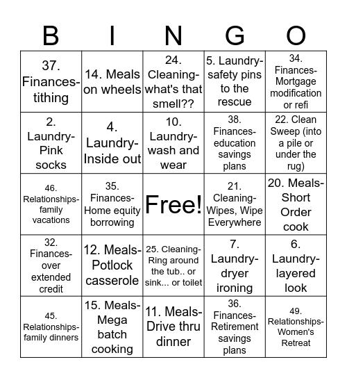 LWC Girlfriends Pajama Party- Survivor Bingo Card