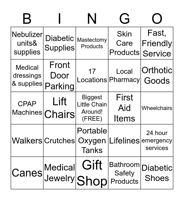 Boone Drug Inc Bingo Card