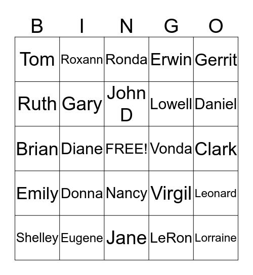 DeVries Bingo Card