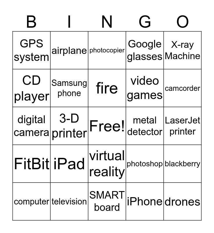 Technology Bingo Card