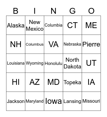 United States Bingo  Bingo Card